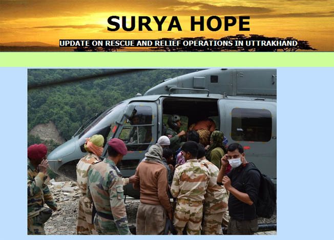 Indian Army launches website on Uttarakhand relief