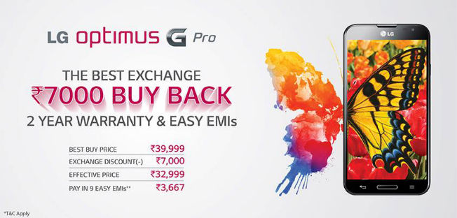LG offers Rs 7,000 off on Optimus G Pro under buyback scheme