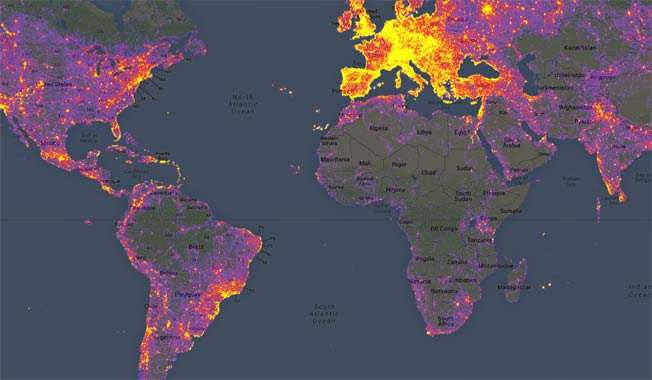 Google heat map shows the most photographed locations in the world on