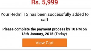 Redmi 1S fails to show up in cart after being 'successfully booked' by many Flipkart registered users