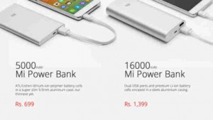 Xiaomi Mi 5,000mAh and 16,000mAh power banks up for sale on company website at 2PM tomorrow