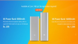 Xiaomi 5,000mAh, 16,000mAh Mi power bank to go on sale on company website today