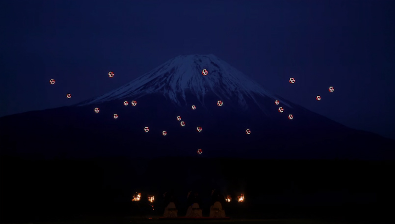 Synchronized drones with 16,500 LEDs put up a show in Mount Fuji