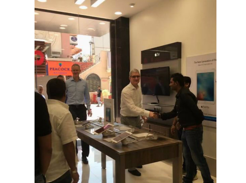 Apple CEO Tim Cook visits Apple store, iStore in Gurgaon