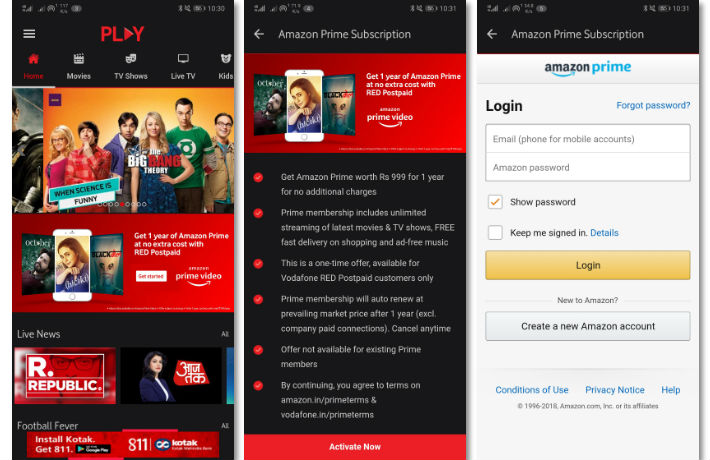 How to activate 1-year Amazon Prime membership on Vodafone ...
