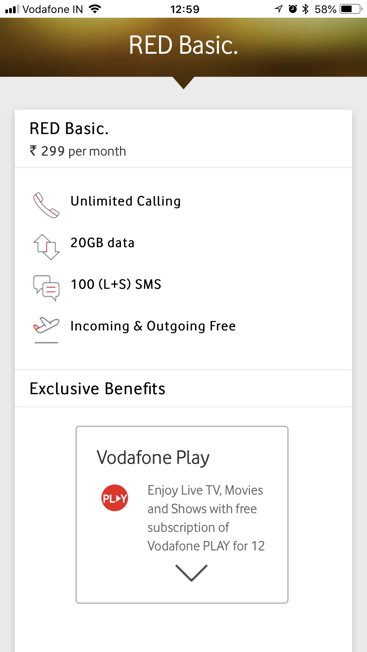 Vodafone RED Basic launched